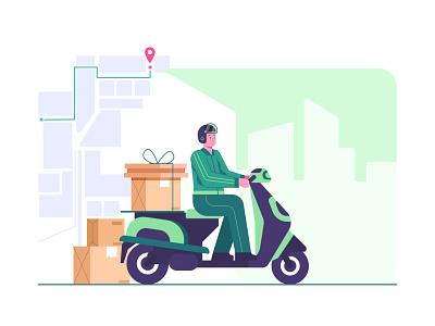 delivery by scooter concept illustration delivery service order courier mobile web uiux illustration landingpage flat illustration