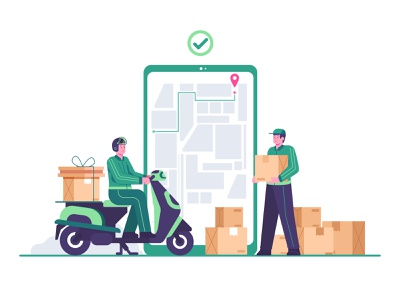 delivery concept illustration flat illustraion deliveryapp box warehouse courier delivery