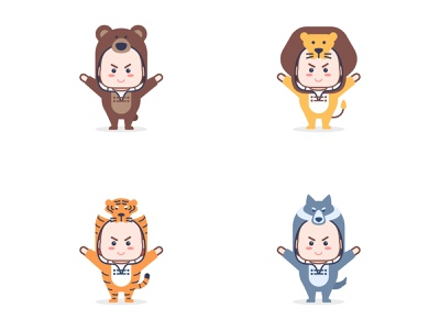 set of kids character with animal suit 1 01 design kawaii character cute baby kids costumes suit animal flat illustration