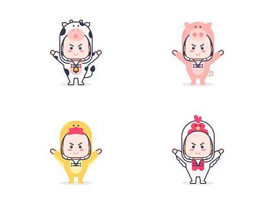 kids  with animal suit sticker illustration design flat illustration mascot pig chicken duck suit kids