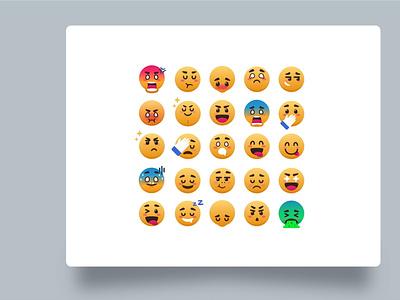 Expressive emoji v 2.0 messenger chat app chatting icon sad landingpage design illustration uiux flat illustration smile smiley