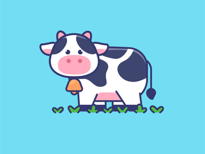 Cute cow cartoon illustration barn farm milk kawaii adorable logo character cartoon illustration mascot cow