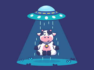 I belive i can fly flat illustration farm barn floating fly yoga meditation ufo milk funny kawaii illustration mascot character cow cute