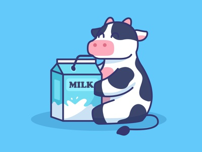 Cute cow mascot drik milk drink illustration cartoon character mascot milk