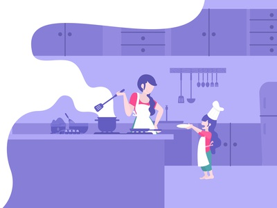 Mom And Kids Cooking Together