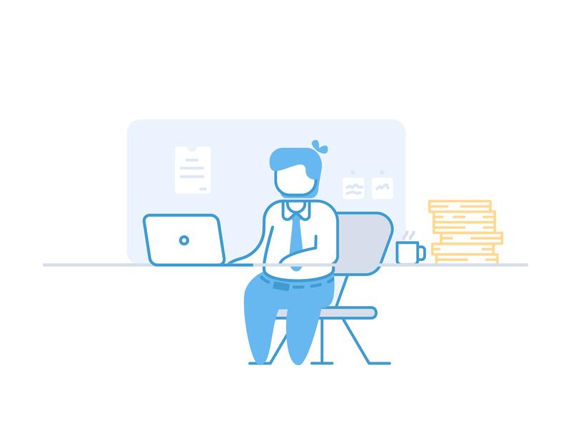 Working front of computer doodle work freelancer illustration laptop computer programmer freelance businessman