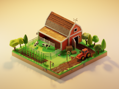 Isometric Farm nature cow tractor low poly render isometric illustration blender farm art 3d