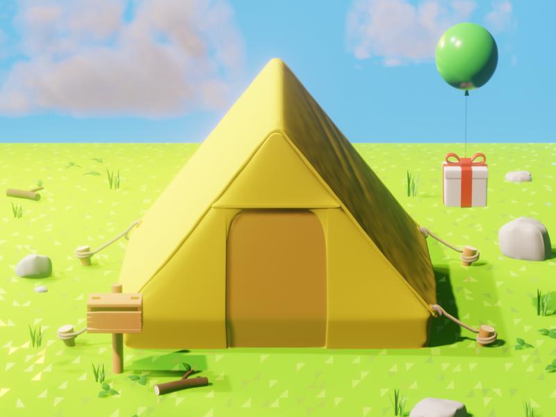 Animal Crossing Tent lighting new horizons balloon tent low poly nature illustration render blender art 3d game switch nintendo animal crossing