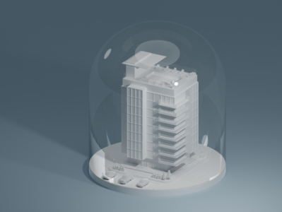 Isometric Apartment - Glass Globe white simple minimalistic minimal low poly render art lighting blender isometric 3d illustration