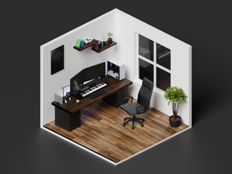 Isometric Home Office 2 low poly lights art render lighting isometric blender 3d illustration