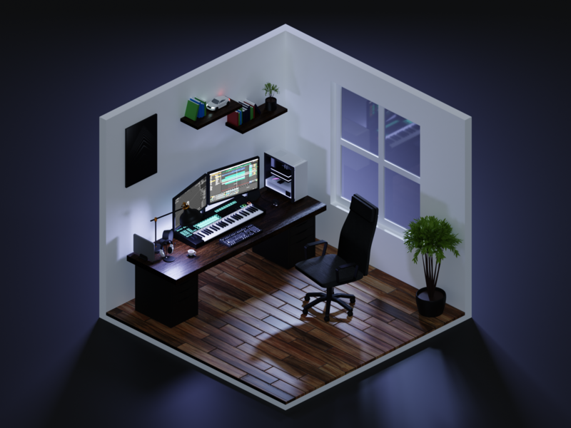 Isometric Home Office 2 - Night lowpoly low poly lights render lighting isometric blender 3d illustration