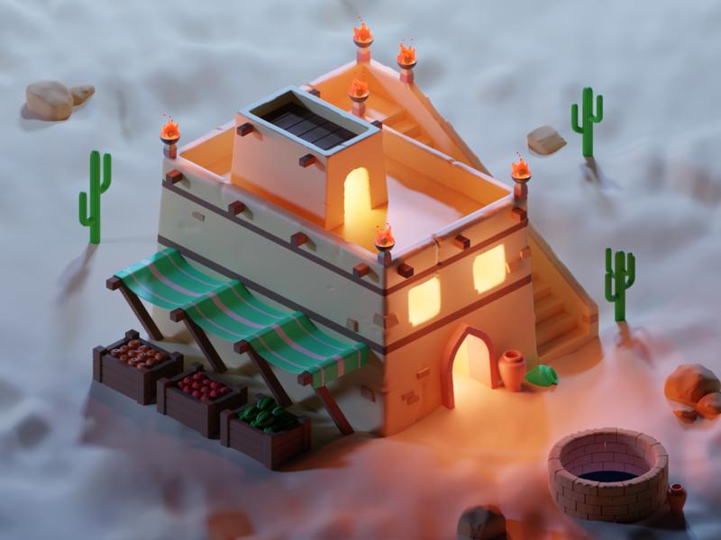 Isometric Desert Building vr ar low poly render desert isometric illustration blender art 3d