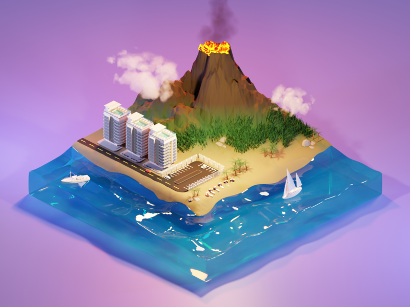 Volcano Island volcano island beach vr ar low poly art render isometric blender illustration 3d