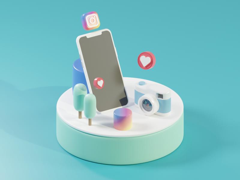 Instagram instagram design low poly art render isometric blender 3d illustration