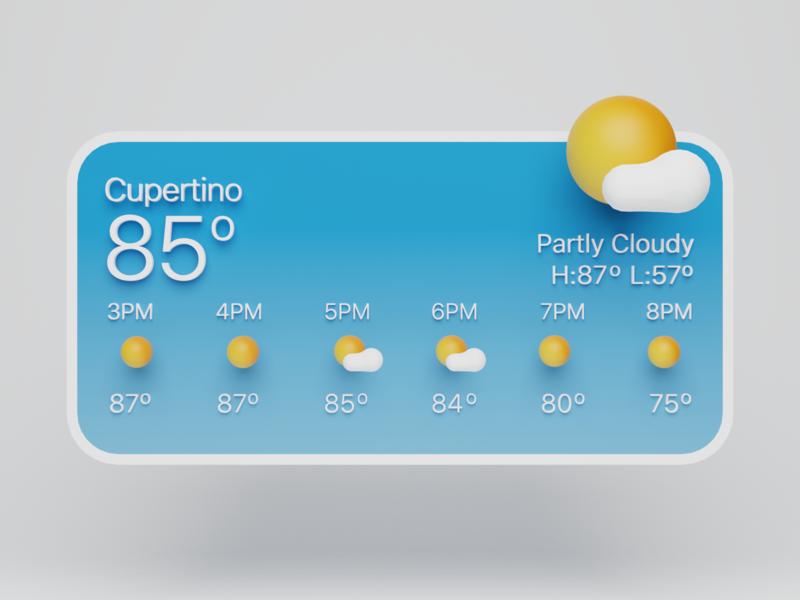 3D Apple Widget - Weather lighting vr ar isometric render blender 3d illustration mac ios design ux ui apple