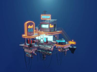 Polygon Runway - Cloud Station Animated animation design low poly art render lighting isometric blender illustration 3d