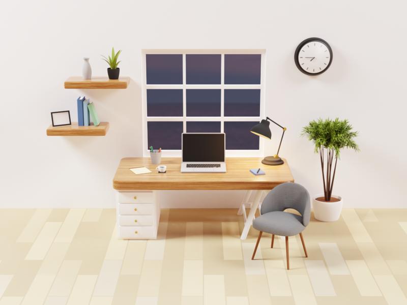 3D Desk Room plant window desk room vr ar low poly art render lighting blender 3d illustration
