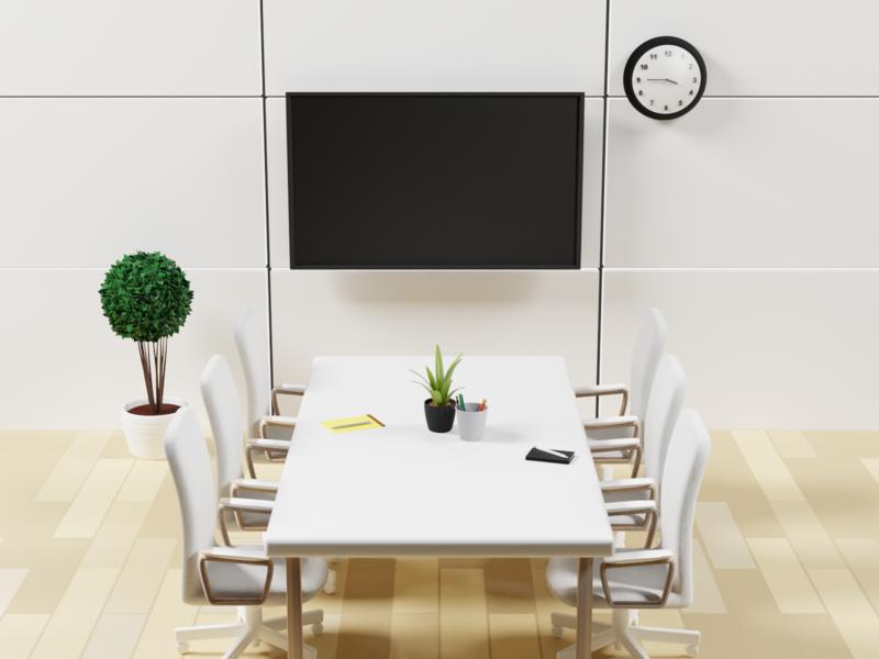 3D meeting room 1 low poly art lighting isometric blender 3d illustration