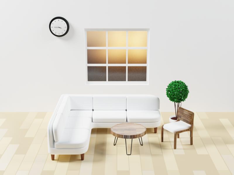 3D meeting room 2 design low poly art render lighting blender 3d illustration