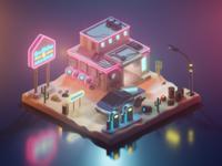 Cyberpunk Gas Station & Auto Repair Shop lowpoly design isometric art low poly lighting render blender 3d illustration