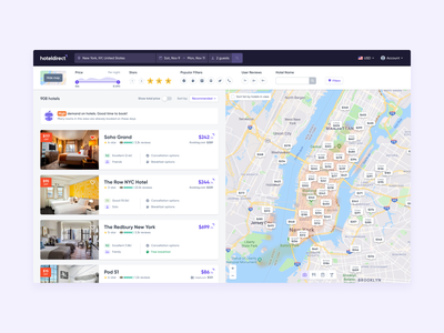 HotelDirect - Search trip hospitality ui ux tablet web travel mobile branding book bookings booking hotel booking map hotel hotels