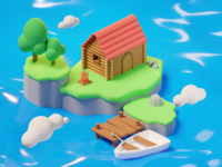 3D Island Cabin cloud boat cabin island lowpoly design isometric art low poly lighting render blender 3d illustration