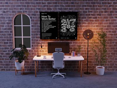 Virtual Meeting Background - Office Night office virtual zoom meeting meet art low poly lighting render blender 3d