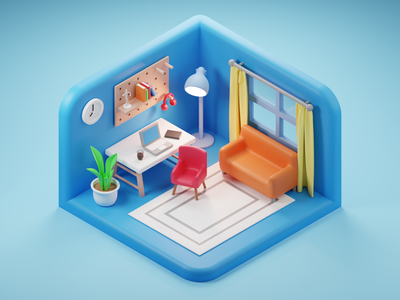 Toy Office lights design isometric art low poly lighting render blender 3d illustration