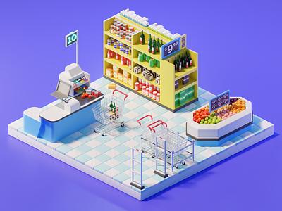 Grocery Shopping design art low poly lighting render 3d blender illustration