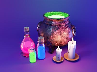 Magic Potion design art low poly lighting render blender illustration 3d
