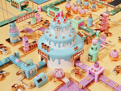 Cake Factory design art low poly lighting render blender 3d illustration
