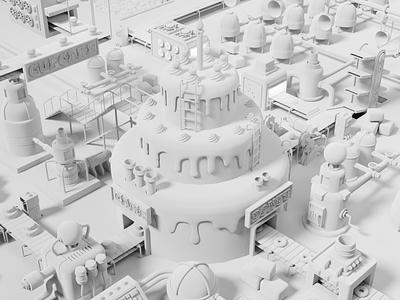 Cake Factory Process process art design low poly lighting render blender 3d illustration