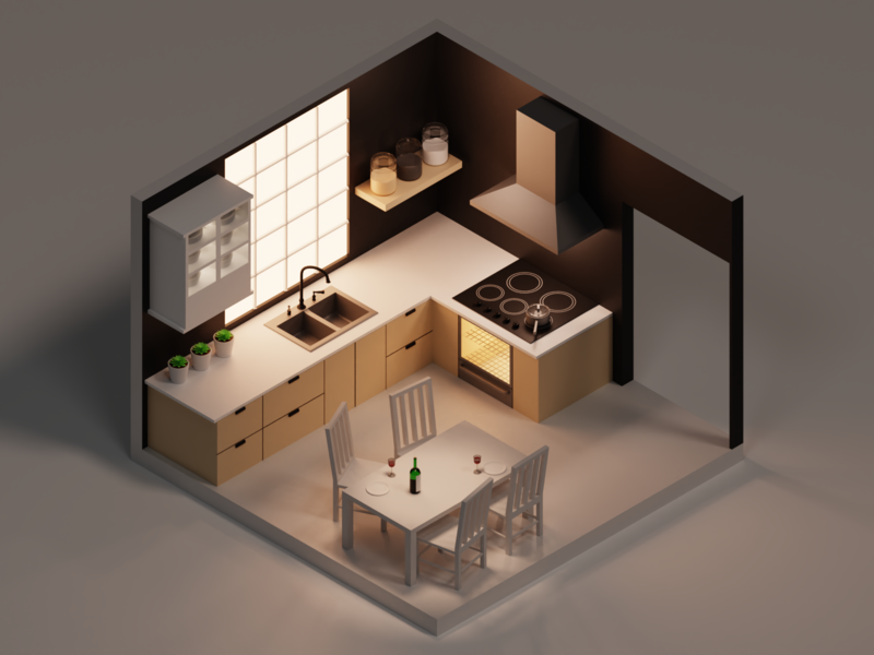Isometric Kitchen pot wine plants render counter table cooking oven lights lighting isometric design isometric art isometric kitchen interior illustration art blender 3d art 3d
