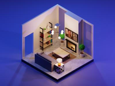 Isometric Living Room - Night Version