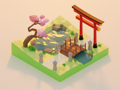 Low Poly - Spring in Japan