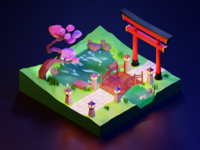 Low Poly - Spring Night in Japan