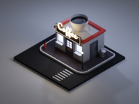 Isometric Coffee Shop - Night Scene