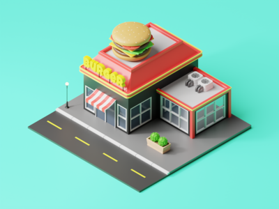 Isometric Burger Joint
