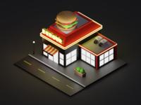 Isometric Burger Joint - Night Scene