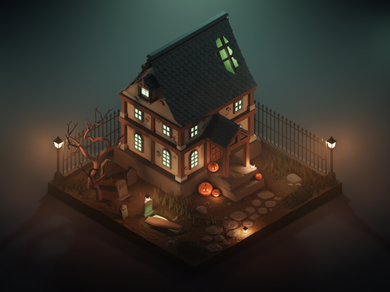 Haunted House - Dribbble Weekly Warm-Up ui ux illustration blender render lowpolyart lowpoly haunted mansion house haunted architecture jack o lantern pumpkin grave lighting lights 3d isometric halloween