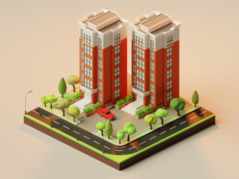 Isometric Apartment 2 vector ui ux tree render low poly low poly art lowpoly lights lighting isometric illustration design building blender art architecture apartment 3d