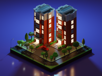 Isometric Apartment 2 - Night Scene