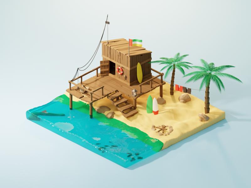 Isometric Beach Hut vacation water palm sand fishing hut beach render isometric illustration design blender 3d