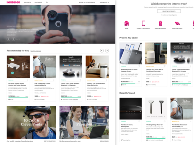 Indiegogo Logged-in Homepage