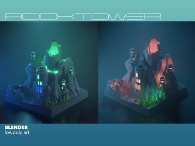 Rock tower isometric art low-poly blendercommunity volcano game terrain castlerock castle illustration blender3dart blender lowpolyart lowpoly