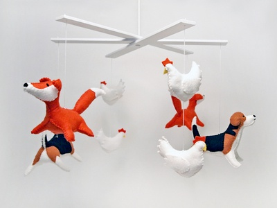 beagle, fox, chicken baby mobile
