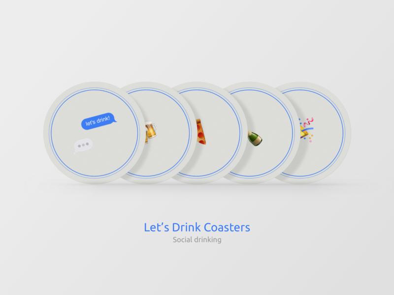 Let's Drink Coasters social sticker mule drink coasters flat icon typography branding vector illustration sketch app design