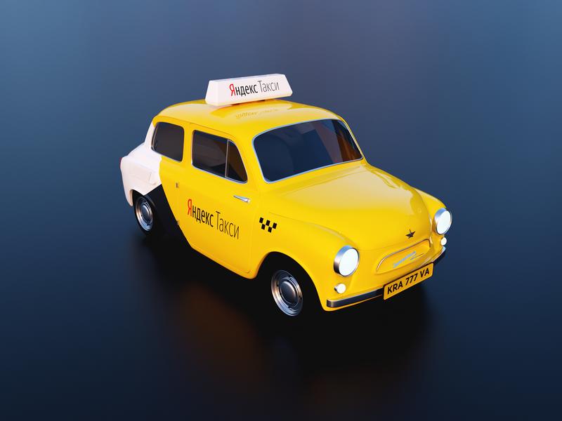 Zaporozhets taxi cinema color adobe yellow identity render corona c4d 3d yandex taxi design