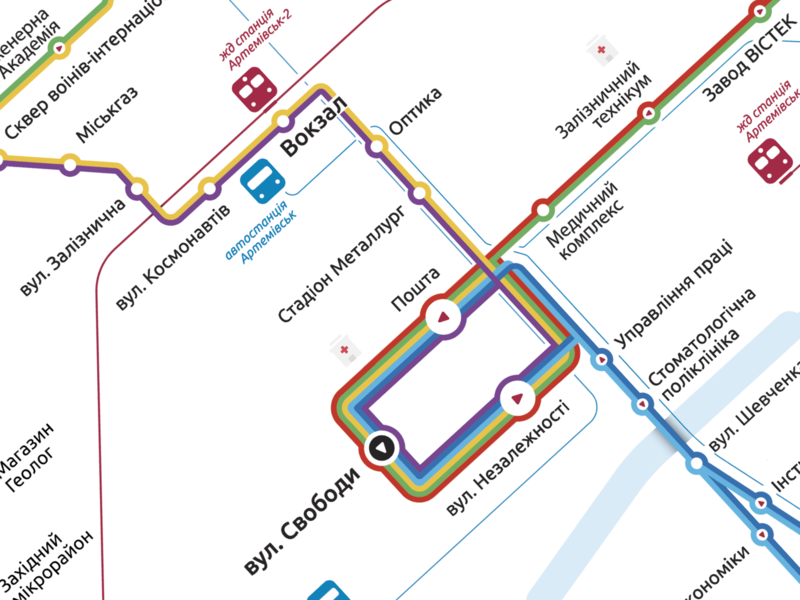 Public transport scheme urbanism industrial city trolley bus public transport scheme map vector typography illustration sketch app ux ui web design