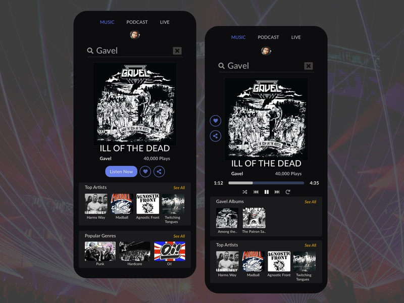 Music App Design Concept using my band Gavel appdesign ui uxresearch music designsystem design designer appdesigner ux designforhire barskydesign